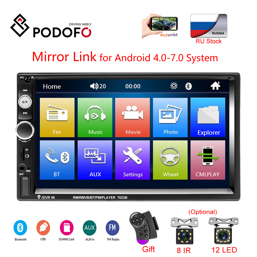 Podofo 7 HD Touch Screen Car Monitor Car Radios Mirrorlink 2 din Auto Radio Bluetooth Car Stereo FM Recieiver MP5 Player Camera
