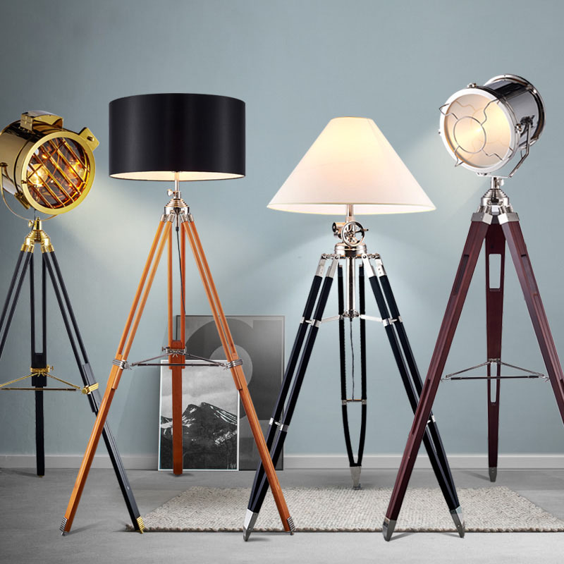 Industry Living Room Northern European Style Logs Floor Lamp American Vintage Tripod Personalized & Creative Solid Wood Library|Spotlights| |  - title=