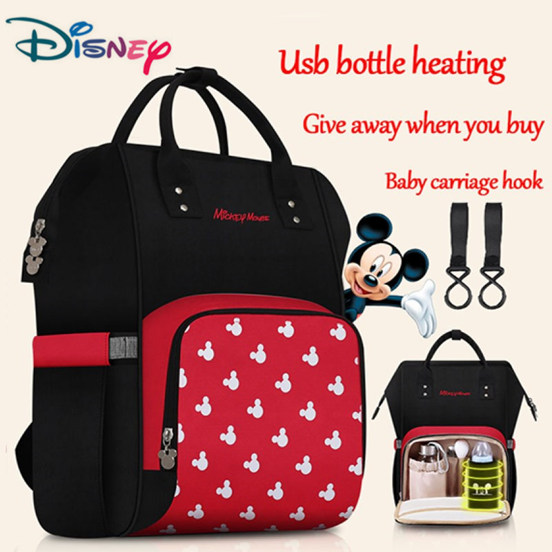 Disney Mummy Bag With USB Heater Baby Diaper Bag With Wet Bag Maternity Nappy Stroller Bag Mickey Backpack For Baby Care