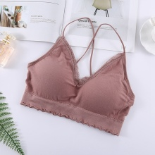 Sexy Women Lace Removable Padded V-Neck Bras Ladies Summer Push Up Seamless NS