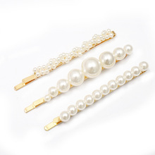 F113 Korean Pearl Hair Clip For Women Golden Straight Stick Barrettes 5pcs Pins Set bridal hair accessories Head Jewelry
