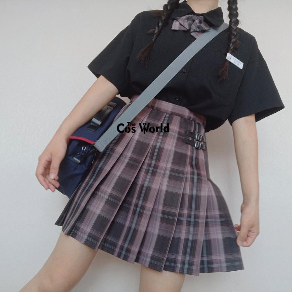 [Polar Night ] Girl's Japanese Summer High Waist Pleated Plaid Skirts For JK School Uniform Students Cloths