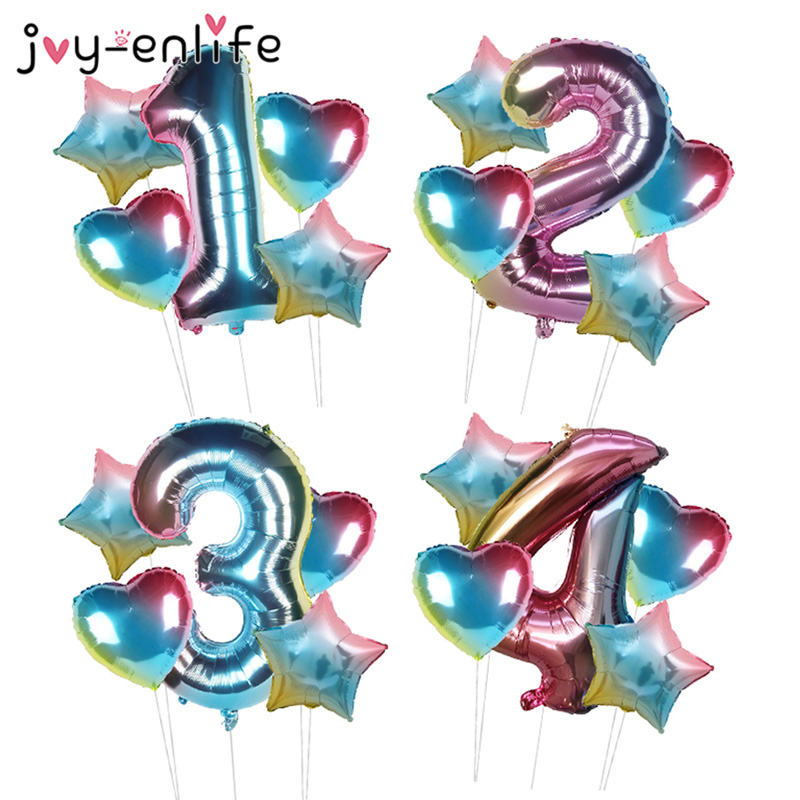 5pcs Rainbow Color Number Foil Balloons Set <font><b>1</b></font> 2 3 4 5 6 7 8 9th <font><b>Birthday</b></font> Party <font><b>Decorations</b></font> Kids Baby Shower <font><b>Girl</b></font> Globos Supplies image