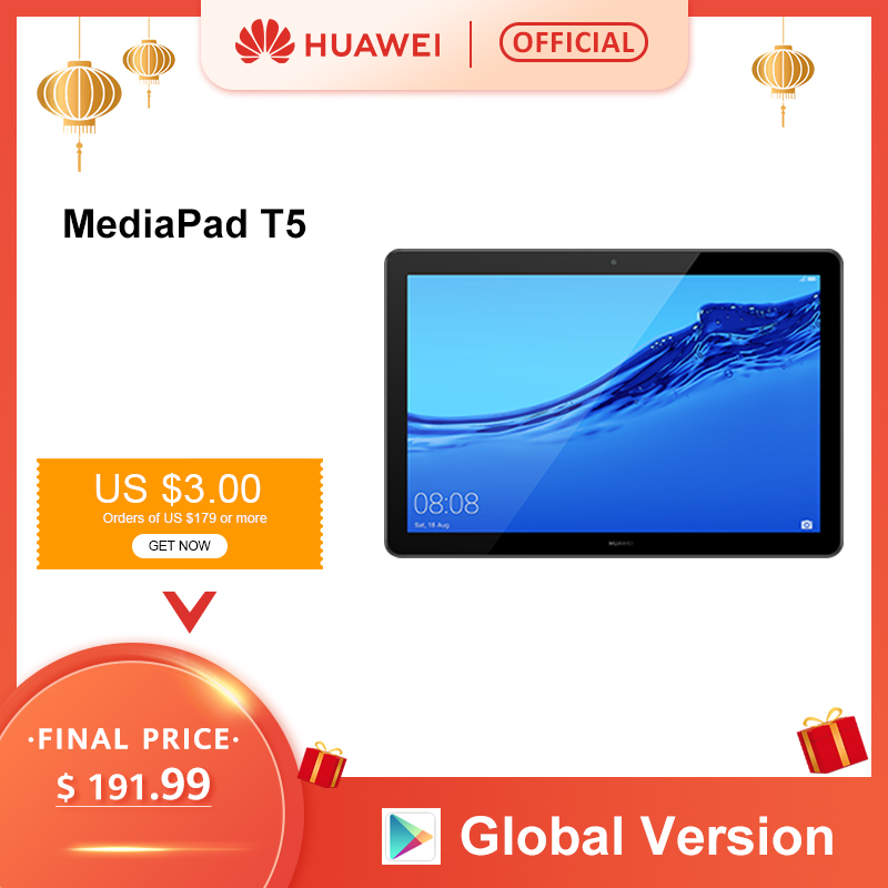 Global Version HUAWEI MediaPad T5 3GB 32GB Tablet PC 10.1 inch Octa Core Dual Speaker 5100 mAh Support microSD Card Android 8.0 image