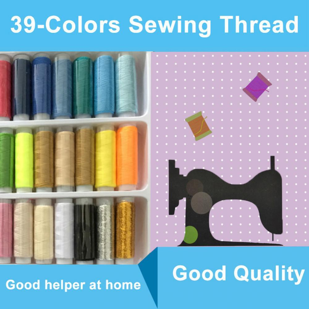 40% Hot Sales!!! 39Pcs Mixed Color Machine Sewing Thread Spools Embroidery Yarn with Storage Box