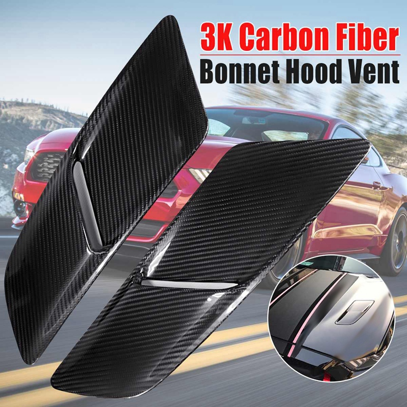 Car Front Hood Vents 3K Carbon Fiber Car Air Intake Scoop Bonnet Hood Vent for Ford Mustang 2015 2017|Intake Manifold| |  - title=