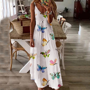 Женское летнее платье с V-образным вырезом и принтом бабочки