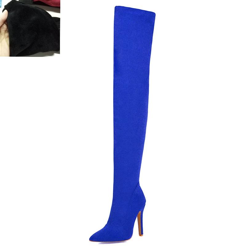 Новая Брендовая женская обувь женские ботфорты выше колена, большие размеры 32-48 пикантные вечерние сапоги на тонком высоком каблуке Женская обувь - Цвет: Blue short plush