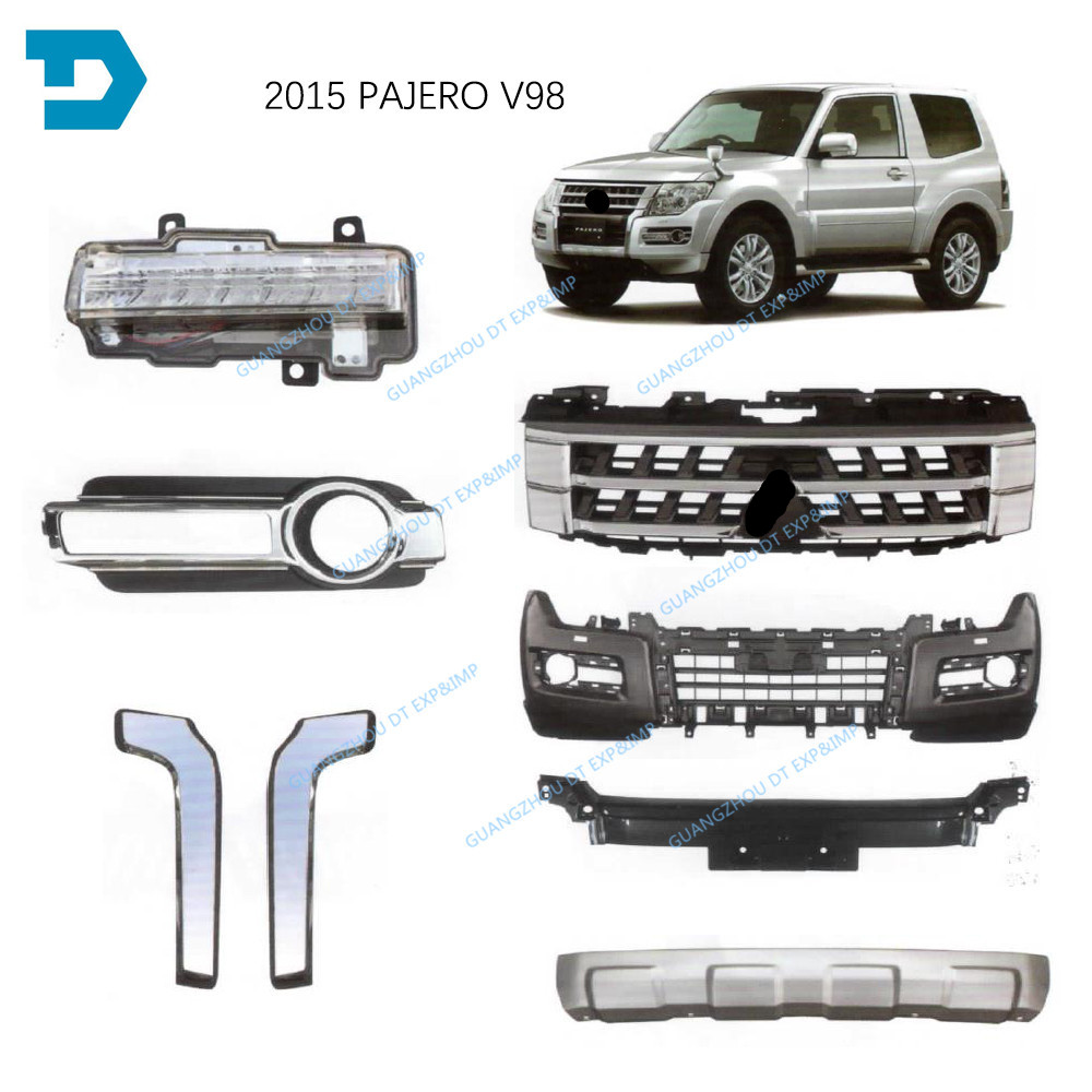 1 piece 2015-2020 Chrome Cover for Pajero V97 Chrome Strip for Montero V98 Front Bumper Chrome Cover for Shogun V95 V87 V93