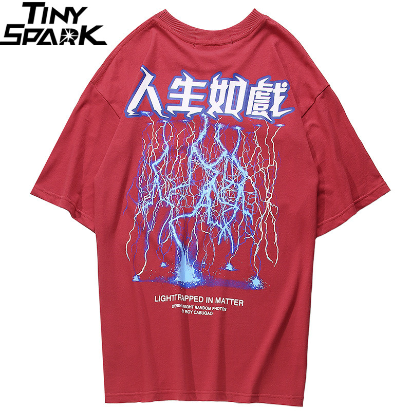 Image 3 - 2019 Men Hip Hop T Shirt Lightning Print T Shirt Streetwear Chinese Letter Tshirt Oversized Harajuku Summer Tops Tees Cotton NewT-Shirts   -