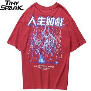 Image 3 - 2020 Mannen Hiphop T shirt Lightning Print T shirt Streetwear Chinese Brief Tshirt Oversized Harajuku Zomer Tops Tees Katoen Nieuwe