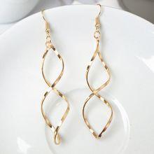 Einfache Spirale Tropfen Ohrringe Frauen Lange Gebogene Welle Baumeln OhrringeHochzeit Schmuck