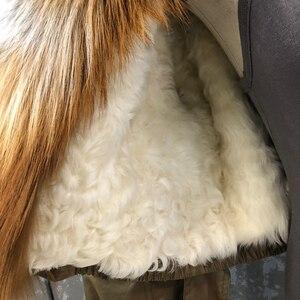 Image 5 - Abrigo de piel de zorro a la moda para mujer, forro desmontable, línea de piel de cordero de alta calidad, cazadora de estilo corto S7652