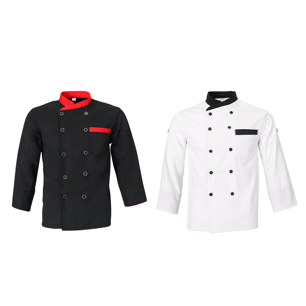 Unisex Adults Chef Jacket Coat Hotel Waiter Uniform Long Sleeves