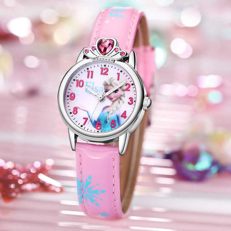 Princess Elsa Children Watches Frozen Pink Quartz Watch Girls Kids Party Gift Clock Wrist Relogio Feminino Disney Crystal Crown