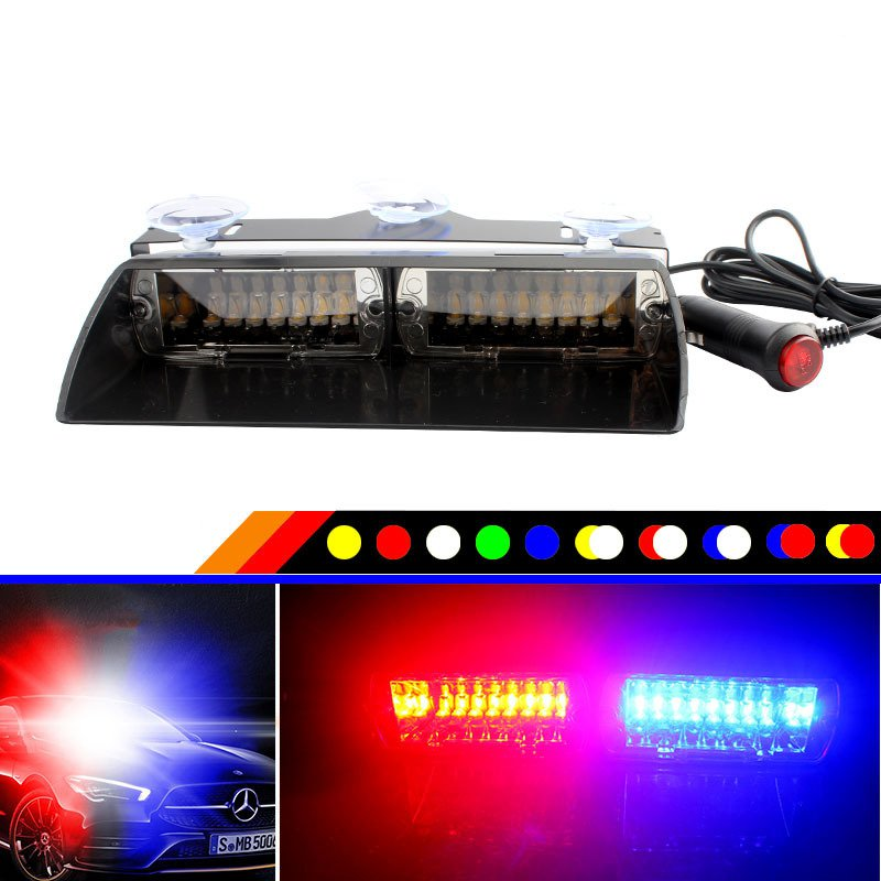 16LED Warning Car Lamp DC12V 48W Highlight Sucker Explosive Flash Power Saving High Quality Traffic Warning Safety Car Lights