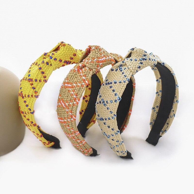 Women Hairband Girls Straw Articles Headband Lady Hair Accessories Bezel Raffia Woven Knot Turban Ornaments Haarband F074