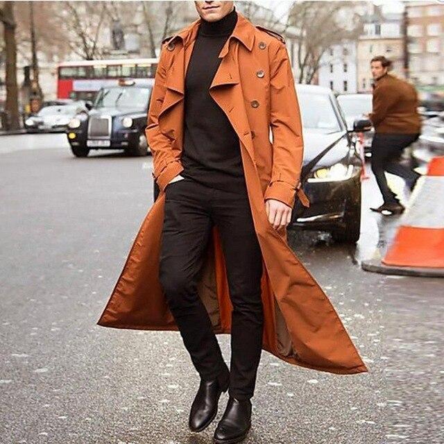2020 Trench Coat Mens Overcoat Casual Slim Fit Windbreak Plus Size Solid Long Coat Men Fashion Spring Jacket  Homme 5