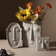 Kreatywny Nordic wazon ceramiczny salon Vintage minimalistyczny akcesoria stołowe wazon artystyczny Dekoracje Do Domu Home Decor DB60HP