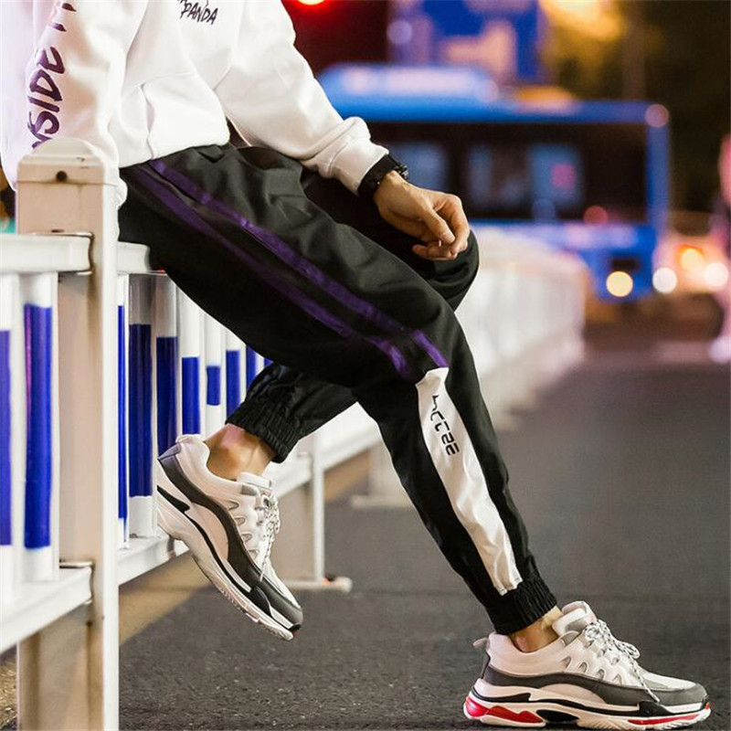 Hip Hop Streetwear Men Harem Cargo Pants Korean Jogger Sweatpants Solid Color Black White Ankle Length Trousers M-5XL