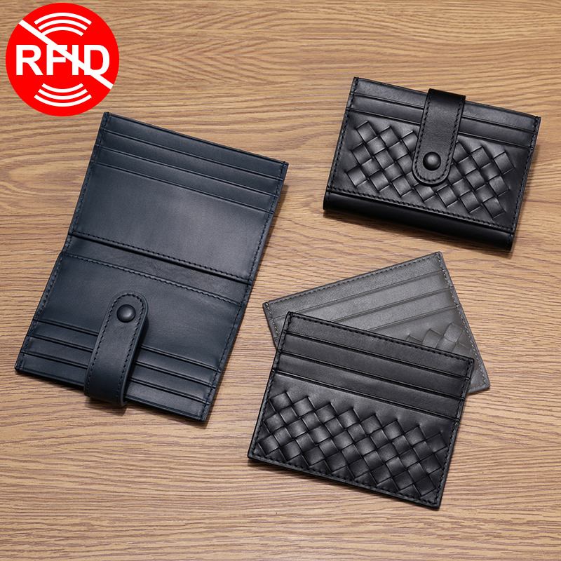 Leather Card Bag Men Woven Ultra-Thin Luxury Brand Credit Card Holder Women Multiple Card Slots Anti-Theft Top Baby Cow Leather