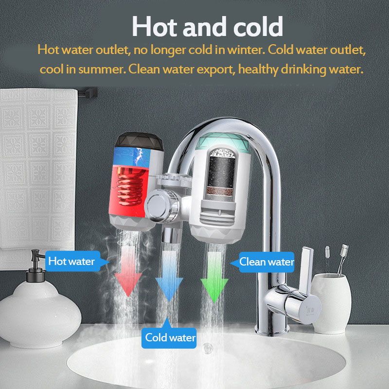 2 in 1 Kitchen Faucet Purifier Instant Hot Water 3000W Digital LCD Display Electric Water Heater Tankless Fast Heating Water Tap 50