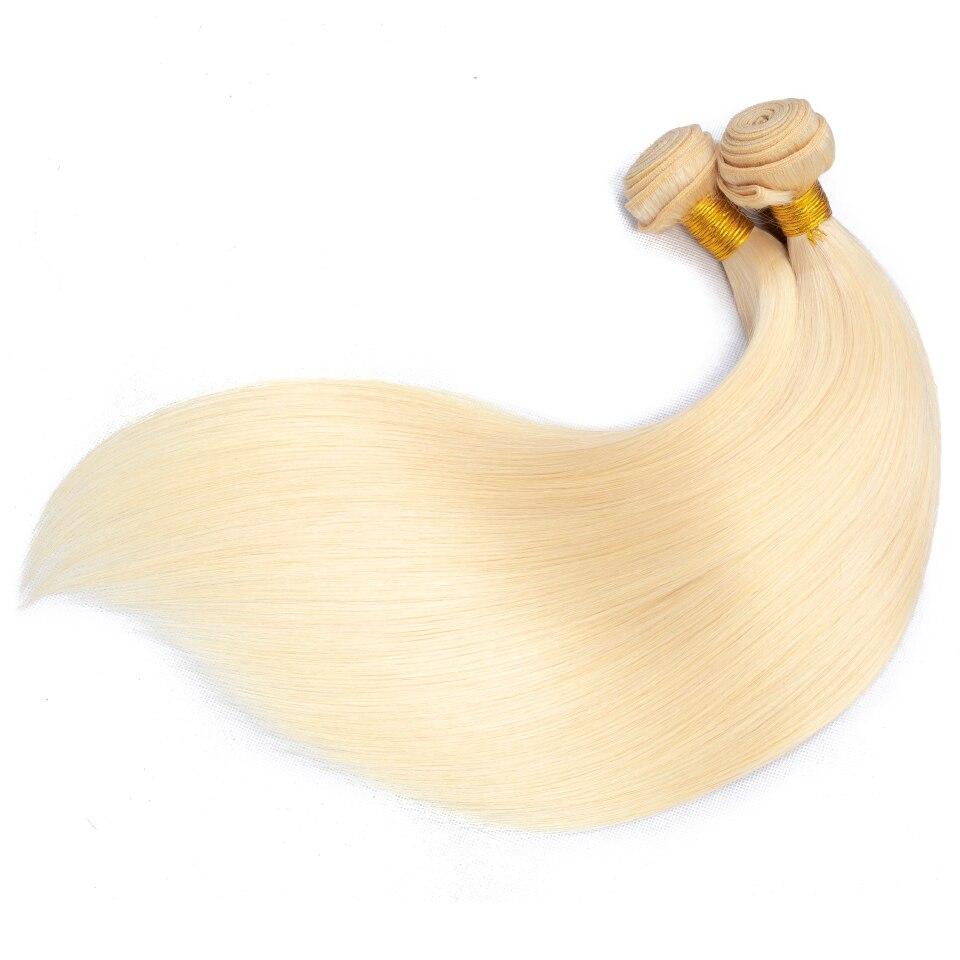 Blonde 613 Color 34 36 38 40 Inch Long  Straight Hair Bundle   Double Weft   Bundles 3