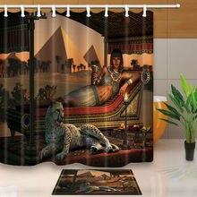 Egyptian beauty and leopard shower curtain set Pyramid Bathroom decor