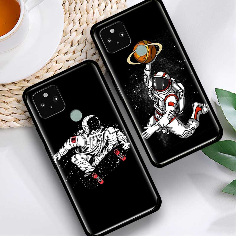 Phone Case For Google Pixel 4 XL 4 4A 5G Fundas For Pixel 5 Soft Silicone Cover Back Cases Coque Cartoon Astronaut Space Shell