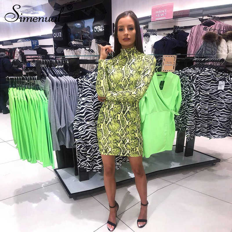 Simenual neon snake print bodycon mini vestido feminino manga longa 2019 vestidos de moda outono festa clubwear sexy vestido feminino quente