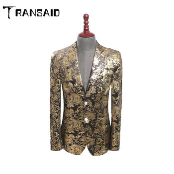 Luxury Floral Pattern Velvet Blazer Double Breasted Tuxedo Mens Casual Suit Jacket DJ Signers Outfit Formal Wedding Groom Suit