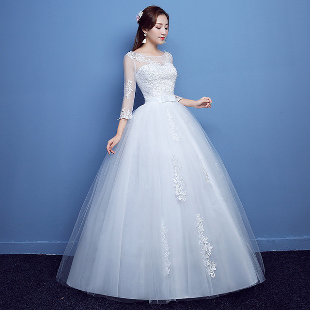 Fashion Lace Up Wedding Dress Bride Ball Gowns Wedding Dresses Half Sleeve Plus Size Princess Dresses Vestidos De Novia 4