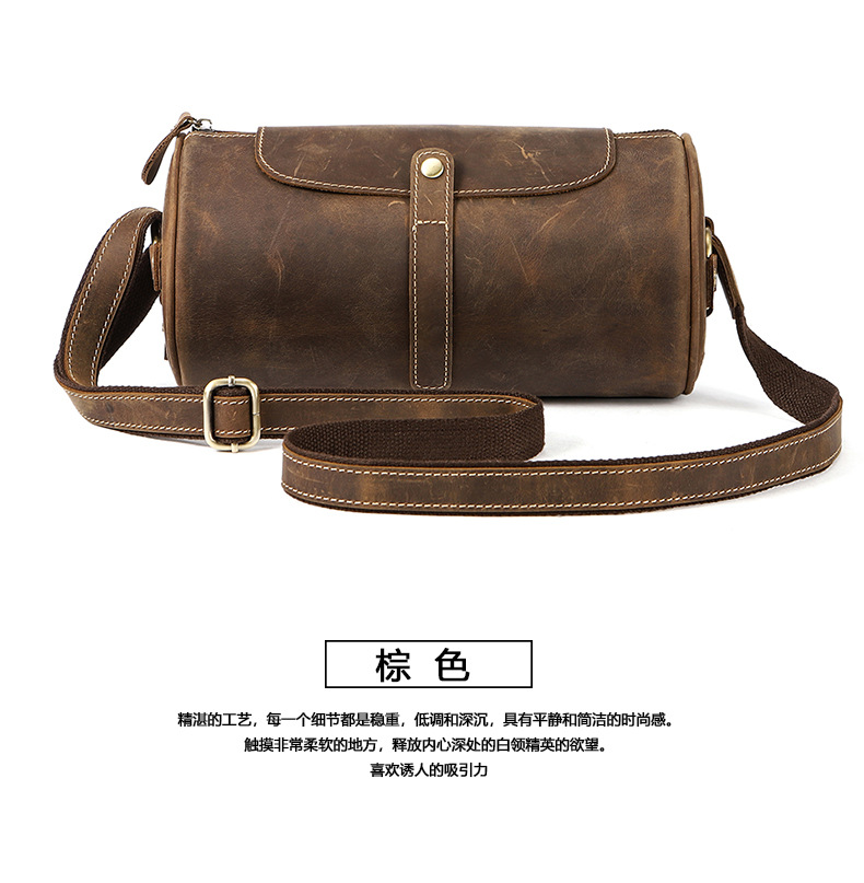 Men's Chest Bag Cross-Border For Custom Geuine Leather Shoulder Bag Diagonal Package Messenger Travel Bag Men
