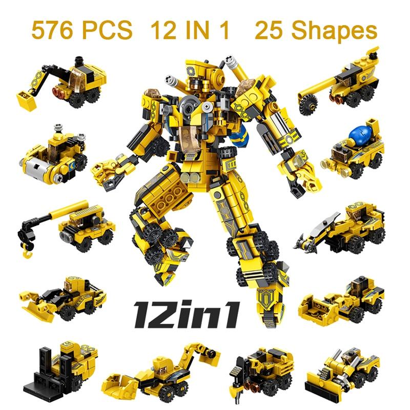 576PCS Boy Children's Building Blocks Set Truck Car Toys Kids Robot Bricks Child Educational Toys Mini engineering vehicle