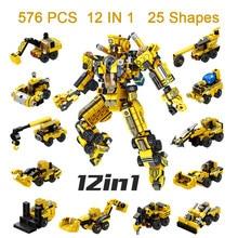 576 adet çocuk çocuk yapı taşları seti kamyon oyuncak arabalar çocuklar Robot tuğla ChildINGLYS eğitici oyuncaklar Mini iş makinesi