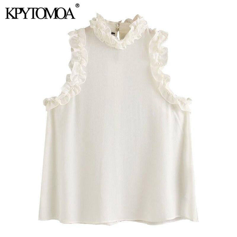 KPYTOMOA Women 2020 Sexy Fashion Pearl Beading See Through Ruffled Blouses Vintage High Neck Sleeveless Female Shirts Chic Tops