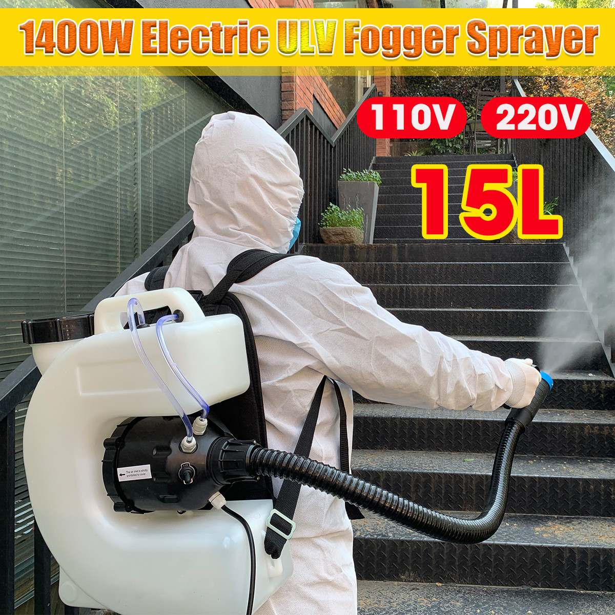 110V/220V Electric ULV Fogger ULV Ultra Low Capacity Cold Fogging Machine 1400W Knapsack Electric Spray Disinfection Machine 15L