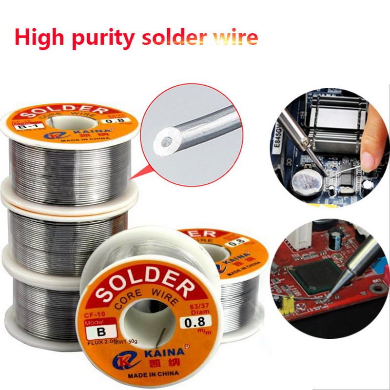 0.5/0.6/0.8/1.0mm 50/100g Welding Wire Roll FLUX 2.0% 45FT Tin Lead Tin Wire Melt Rosin Core Solder Soldering Wire Roll