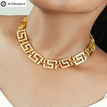 Wishspace europeu e americano popular retro oco para fora curto gargantilha colar, moda mulher corrente jóias atacado