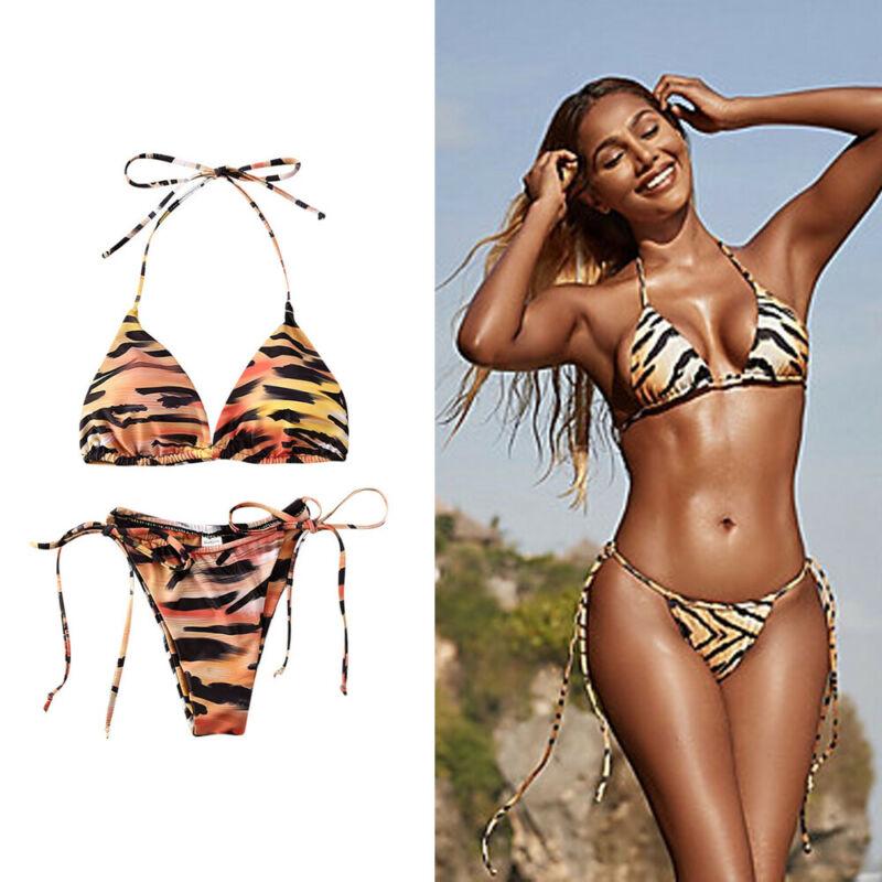 2020 Women Sexy Tiger Print Two Piece Bikini Set Female Swimsuits Bathing Suit Swimwear Beachwear Swim Wear