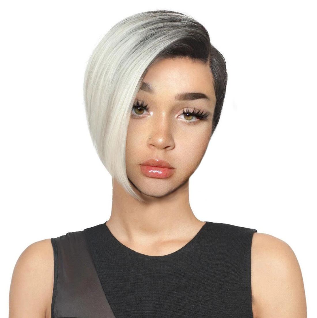 Short Black Wigs For Women Synthetic Hair Wigs Female Heat Resistant Fiber Color Ombre Grey Wig Cosplay image