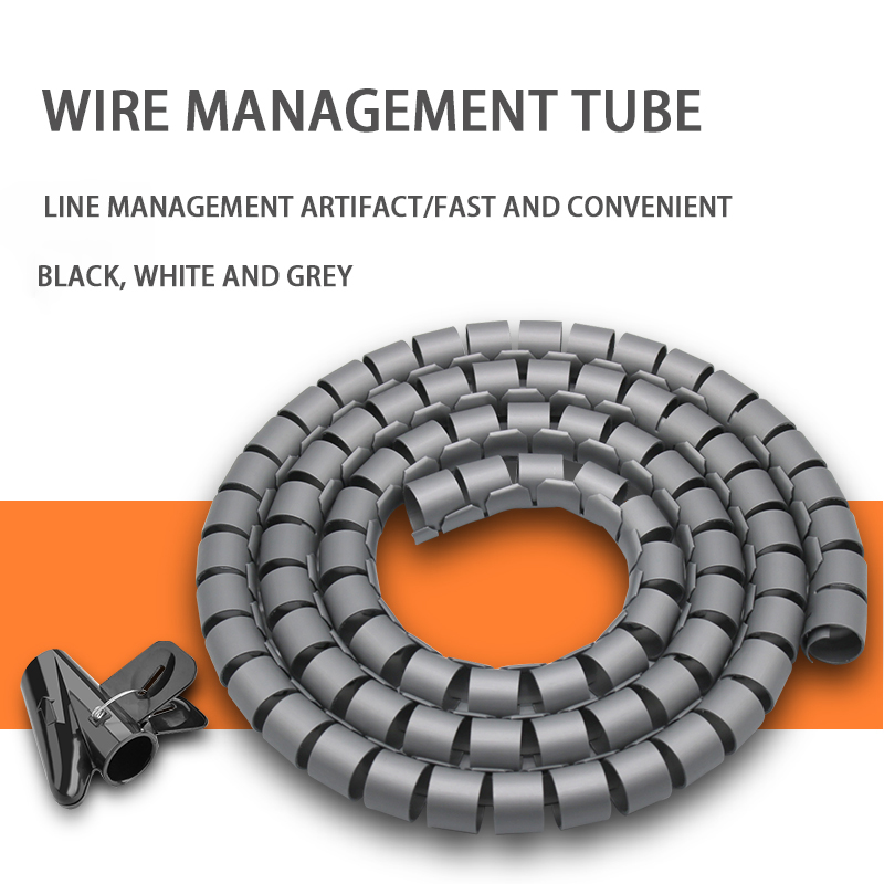 16/22mm <font><b>Cable</b></font> Wire Wrap <font><b>Organizer</b></font> 5M Spiral Tube <font><b>Cable</b></font> Winder Cord Protector Flexible Management Wire Storage Pipe With Clip image