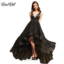 Real Rill V Neck High Low Prom Dresses 2019 Long Tulle Zipper Up Ruffled A Line With Besded Sash