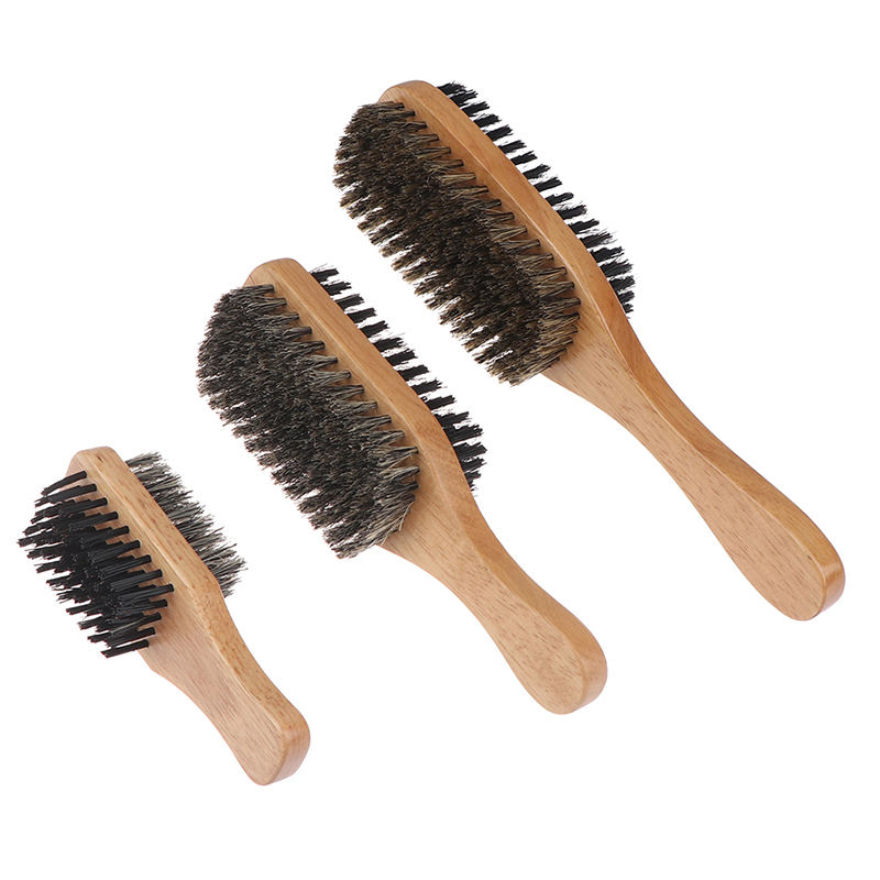 New Women Men Boar Bristle Hair Brush Natural Wooden Wave Brush Styling Beard Hairbrush for Short,Long,Thick,Curly,Wavy Hair Combs  - AliExpress