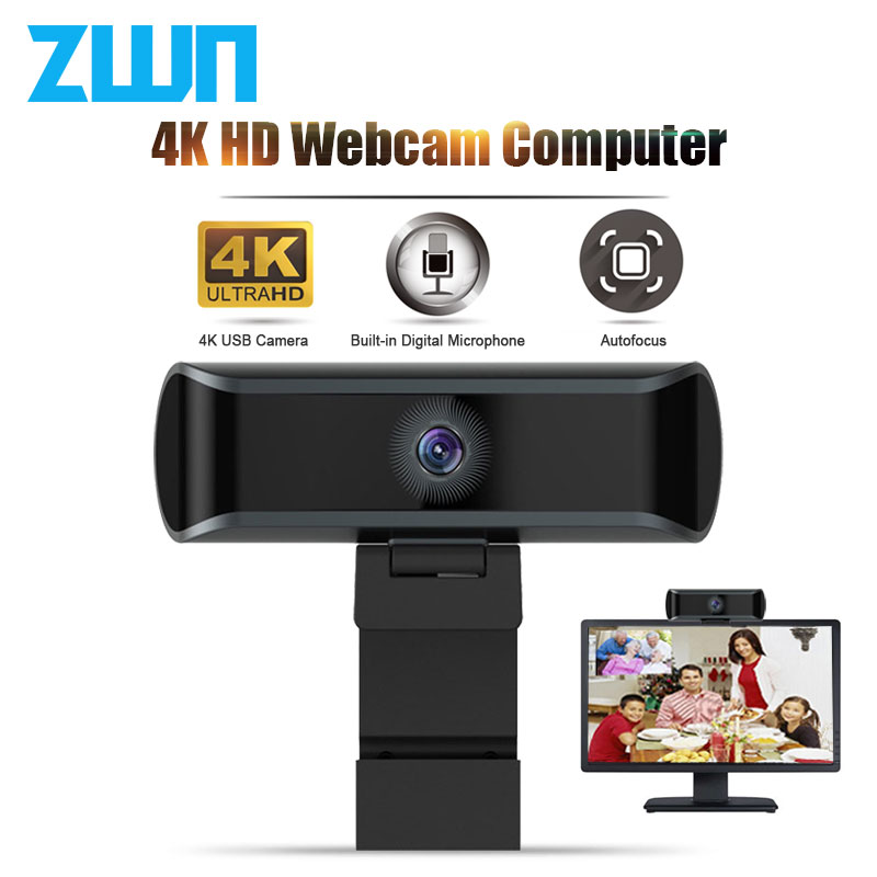 ZWN 4K HD Webcam 1080P Auto/Manual Focus Web Camera With Microphone  Live Video Conference Work USB Cam For PC Laptop Computer