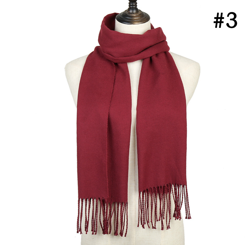 Red Black Winter Scarf For Women Cashmere Shawls Warps Solid Lady Scarves Tassel Warm Pashmina Scarfs Bufandas 2019 Fashion