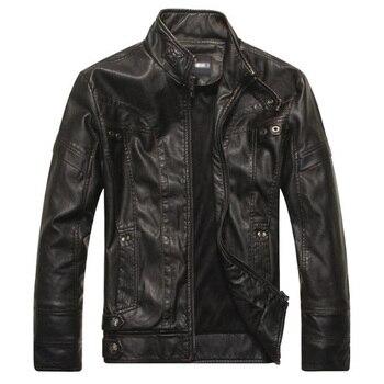 Mens Jacket Warm Retro Zipper PU Faux Leather Jackets Classy Loose Casual Coat Male Punk Cardigan Plus Size Motorcycle Coat 5XL