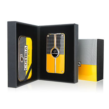 Cohiba Metal Cigar Lighter Tobacco Lighter 3 Torch Jet Flame Refillable With Punch Smoking Tool Accessories Portable Gift Box cohiba cigar lighter butane 3 torch jet flame lighter with cigars cutter punch accessories windproof cigarette lighter gift box