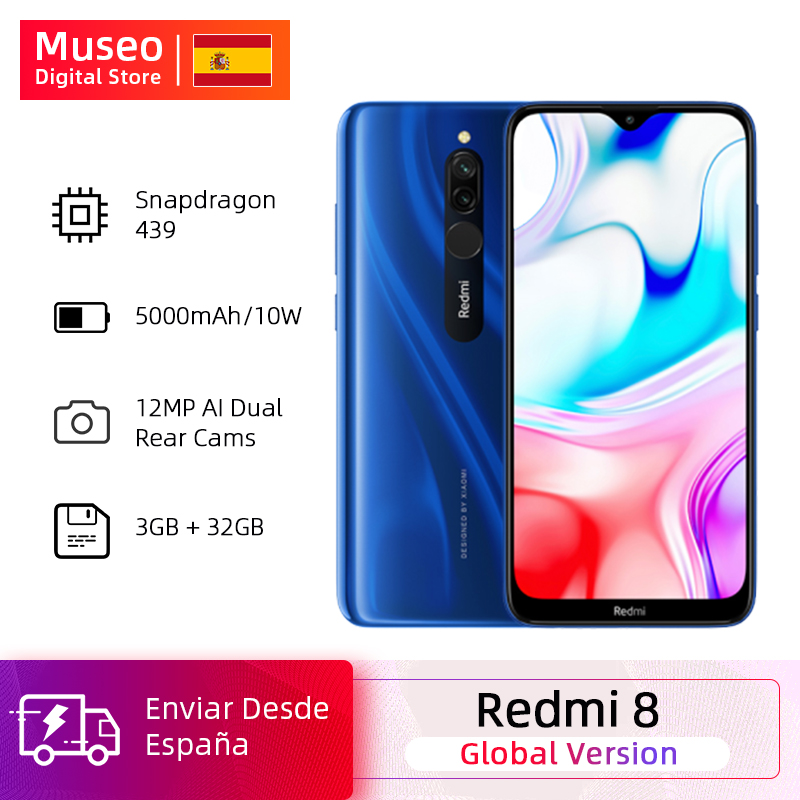 Global Version Xiaomi Redmi 8 3GB 32GB Snapdragon 439 Octa Core 12MP Dual Camera Mobile Phone 5000mAh Large Battery OTA