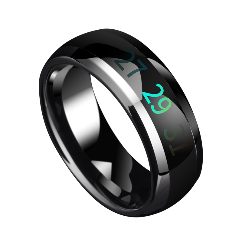 Smart Temperature Tungsten Knuckle Rings Male Rings Color Change Mood Ring Hand Jewelry, Free Shipping,  Customized